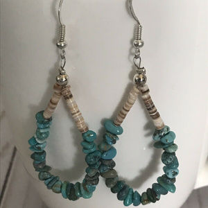 Jewelry - Turquoise Nugget And Shell Dangle Earrings
